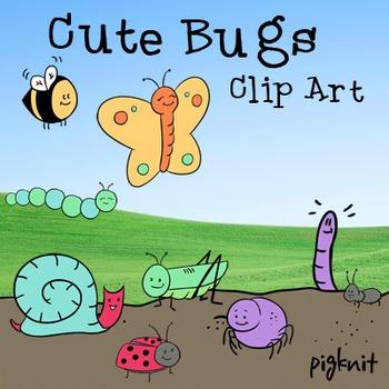 Cute Bugs Clip Art | Butterfly, Caterpillar, Bumblebee, Sp