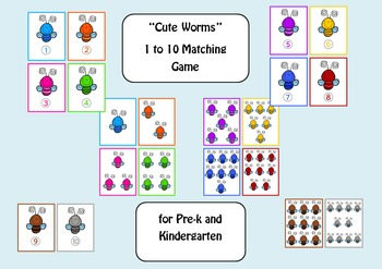 Cute Bugs - Math Matching Game for Pre-K and Kindergarten