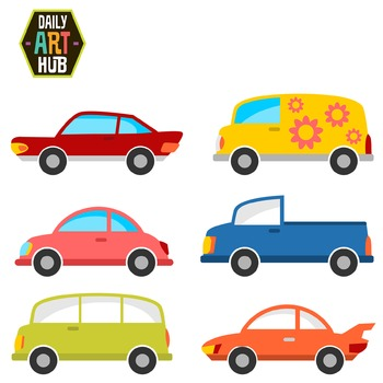 Cute Cars Clip Art - Great for Art Class Projects!