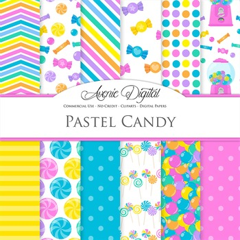 Pastel Candy Digital Paper Background Candies patterns. Sw