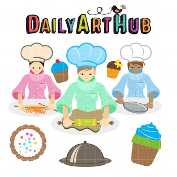 Cute Chef Girl Clip Art - Great for Art Class Projects!