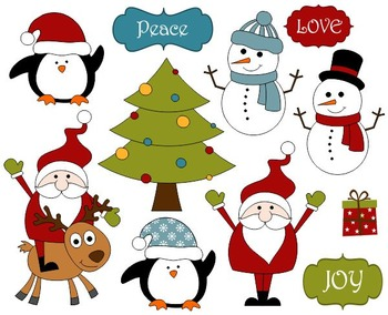 Cute Christmas Clip Art, Xmas Clipart - Santa, Christmas T