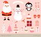 Cute Christmas clipart set, Kawaii Christmas, Snowman, San