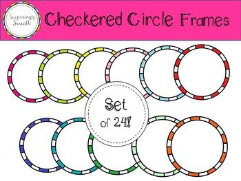 Cute Circle Frames - Set of 24 Checkered Frames!