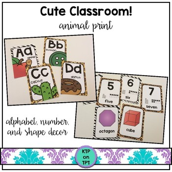 Cute Classroom! (animal print alphabet, number and shape c