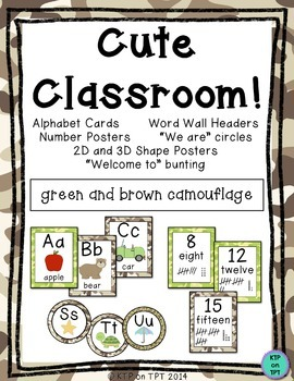 Cute Classroom! (green/brown camo alphabet, number and sha