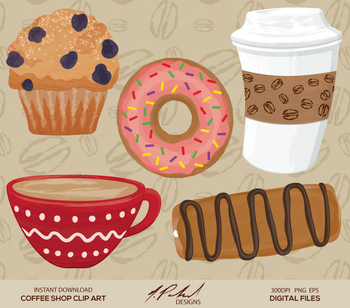 Cute Coffee Shop Digital Clip Art - Digital File Coffee Cl