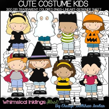 Cute Costume Kids Clipart Collection
