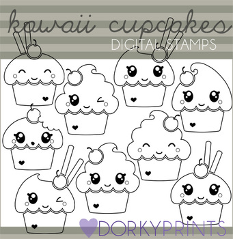 Cute Cupcake Black Line Art