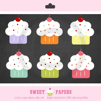 Cute Cupcake Digital Clip Art Set - by Sweet Papers