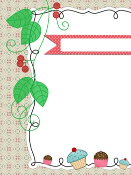 Cute Cupcakes and Cherry Frame/Border