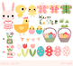 Cute Easter clipart set, Pink Easter bunny clip art, Easte