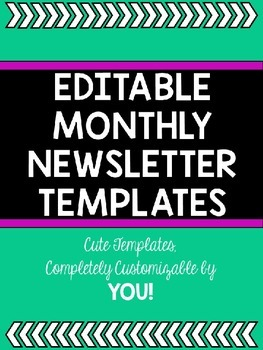 Cute Editable Monthly Newsletters: Volume 2