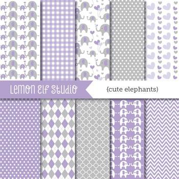 Cute Elephants-Digital Paper (LES.DP10D)