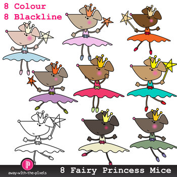 Cute Fairy Princess Mouse Clip Art - 8 Color Images and Bl