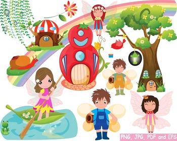 Cute Fairy fantasy Rainbow watercolor woodland Bees clip a