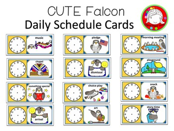 Cute Falcon Schedule Cards and Clipart (Personal & Commerc