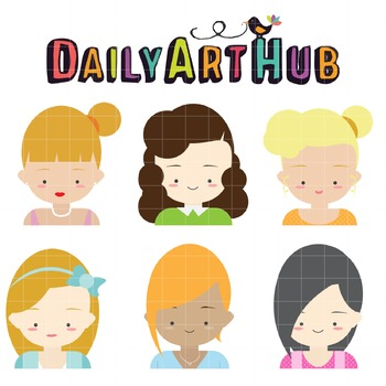Cute Female Character Faces Clip Art - Great for Art Class