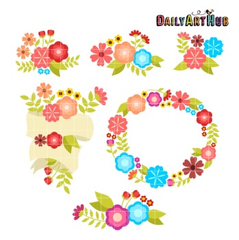 Cute Florals Clip Art - Great for Art Class Projects!