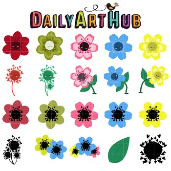 Cute Flowers Clip Art - Great for Art Class Projects!