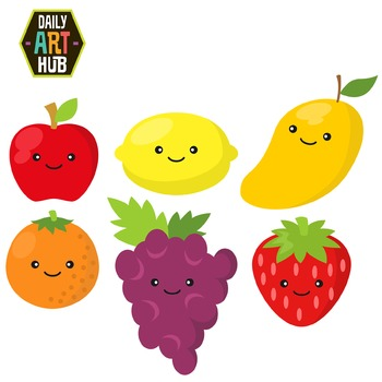 Cute Fruits Clip Art - Great for Art Class Projects!