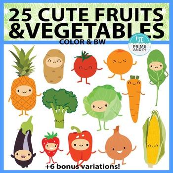 Cute Fruits & Vegetables Clipart