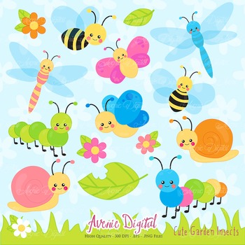 Cute Garden bugs Clipart Scrapbook Commercial Use. Insects