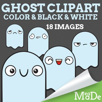 Cute Ghost Clipart - Fall and Halloween Graphics
