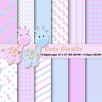 Cute Giraffe Digital Paper + Clipart
