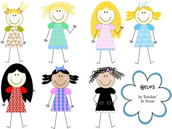 Cute Girl Clip Art for Personal & Commercial Use