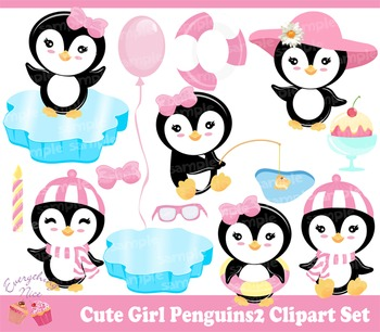 Cute Girl Penguins 2 Clipart Set
