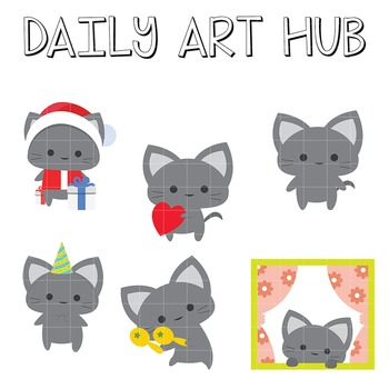Cute Grey Cat Clip Art - Great for Art Class Projects!