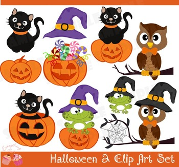 Cute Halloween 2 Clip Art Set