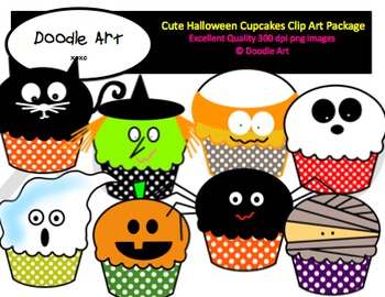Cute Halloween Cupcakes Clipart Pack