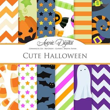 Cute Halloween Digital Papers - Pumpkin, bat, candy, ghost