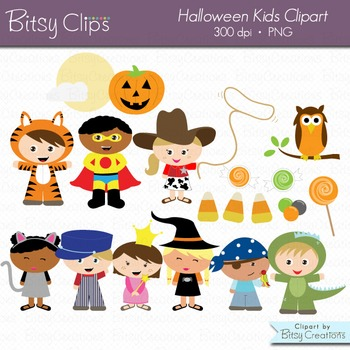 Cute Halloween Kids Digital Art Set Clipart Commercial Use