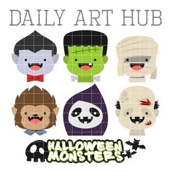 Cute Halloween Monster Heads Clip Art - Great for Art Clas
