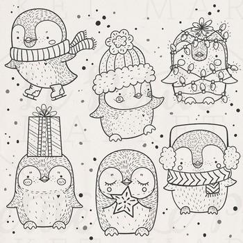 Cute Holiday Penguin Clip Art, Christmas Penguins, Christm
