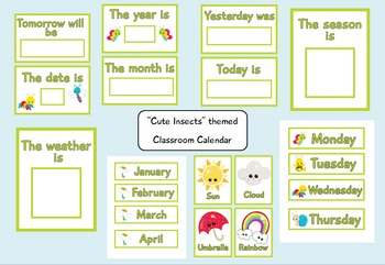 Cute Insects Themed Classroom Calendar for Pre-k and Kindergarten