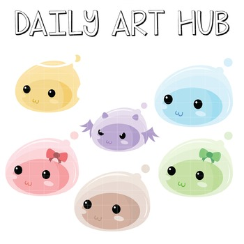Cute Jelly Monsters Clip Art - Great for Art Class Project