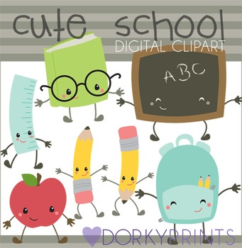 Cute Kawaii Back to School Clipart