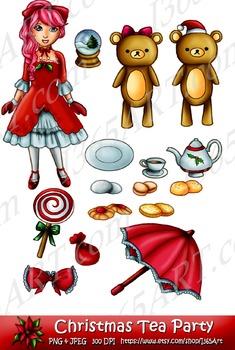 Cute Kawaii Pretty Christmas Holiday Doll Clipart Set 16 D