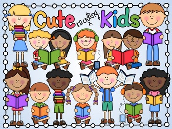 Cute Kids Reading Clipart