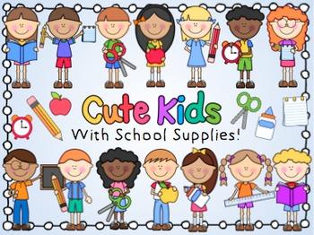Cute Kids With School Supplies