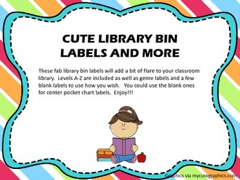 Cute Library Bin Labels -Pre-made and Blank - (Stripes Theme)