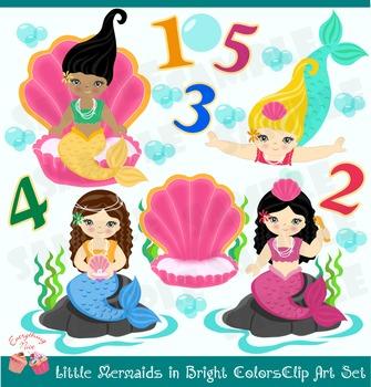 Cute Little Mermaids in Bright Colors