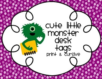 Cute Little Monsters Desk Tag