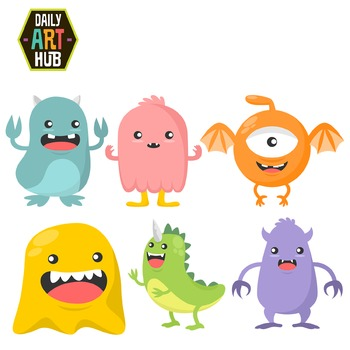 Cute Monsters Clip Art - Great for Art Class Projects!