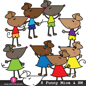 Cute Mouse Clip Art - 8 Color Images and Blackline Mice