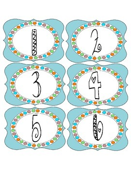 Cute Numbered Label Set